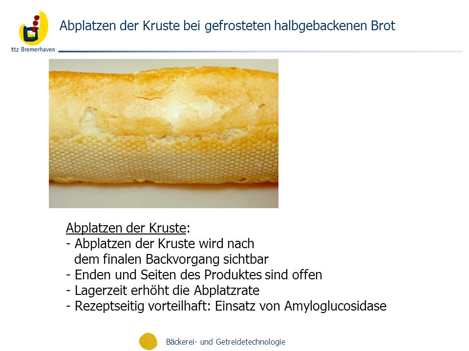 Bäckerei- und Getreidetechnologie Abplatzen der Kruste bei gefrosteten halbgebackenen Brot Abplatzen der Kruste: - Abplatzen der Kruste wird nach dem