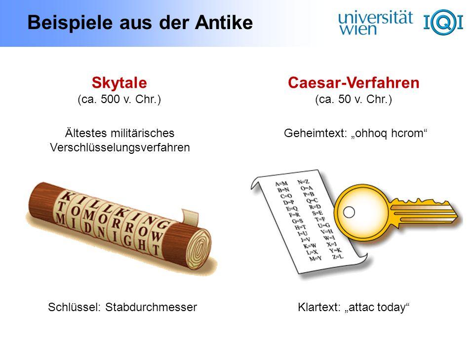 Beispiele aus der Antike Geheimtext: ohhoq hcrom Klartext: attac today Caesar-Verfahren (ca. 50 v. Chr.) Skytale (ca. 500 v. Chr.) Ältestes militärisc