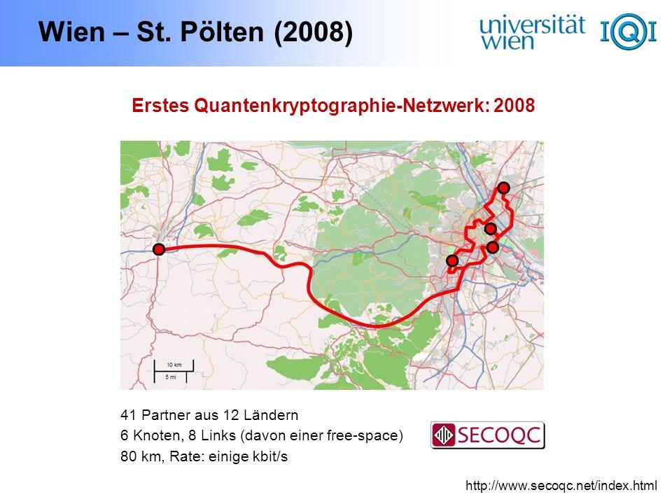 Wien – St. Pölten (2008) http://www.secoqc.net/index.html Erstes Quantenkryptographie-Netzwerk: 2008 41 Partner aus 12 Ländern 6 Knoten, 8 Links (davo