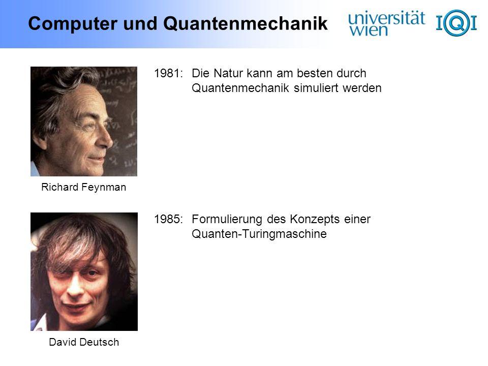 Computer und Quantenmechanik David Deutsch 1985:Formulierung des Konzepts einer Quanten-Turingmaschine Richard Feynman 1981:Die Natur kann am besten d