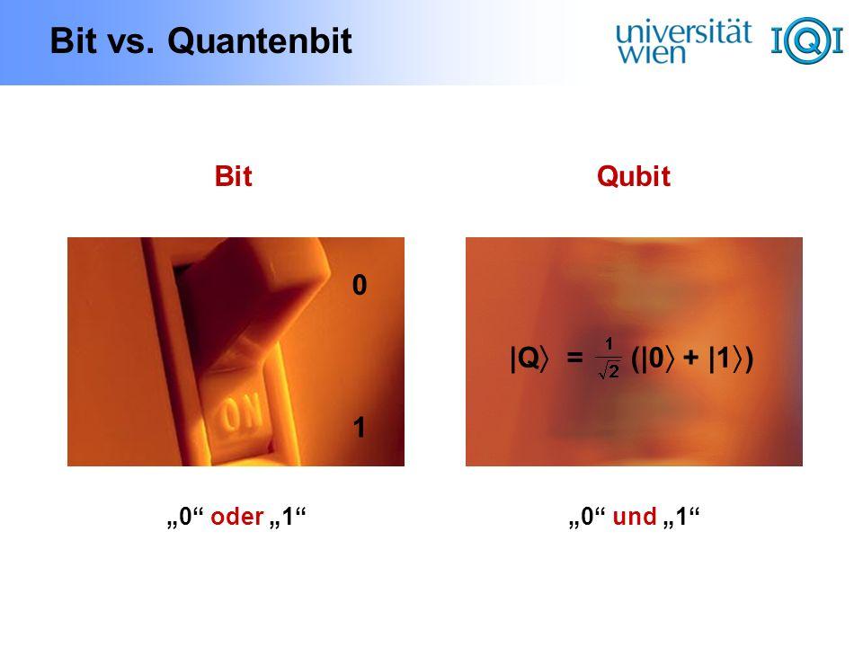 Bit vs. Quantenbit BitQubit 1 0 |Q = (|0 + |1 ) 0 oder 10 und 1
