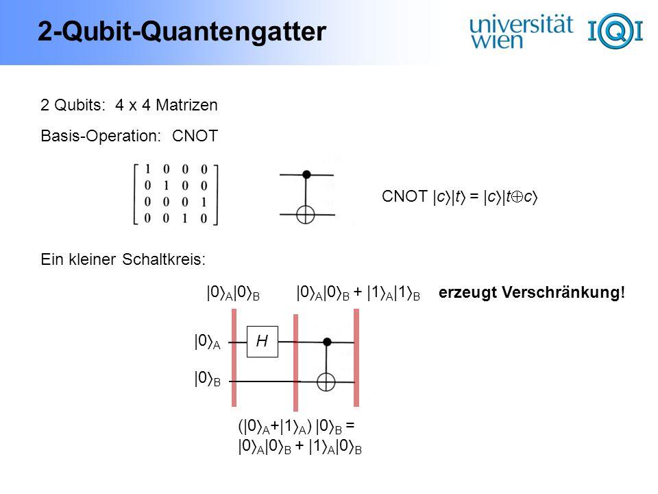 2-Qubit-Quantengatter 2 Qubits: 4 x 4 Matrizen Basis-Operation:CNOT CNOT |c |t = |c |t c |0 A |0 B H |0 A |0 B (|0 A +|1 A ) |0 B = |0 A |0 B + |1 A |