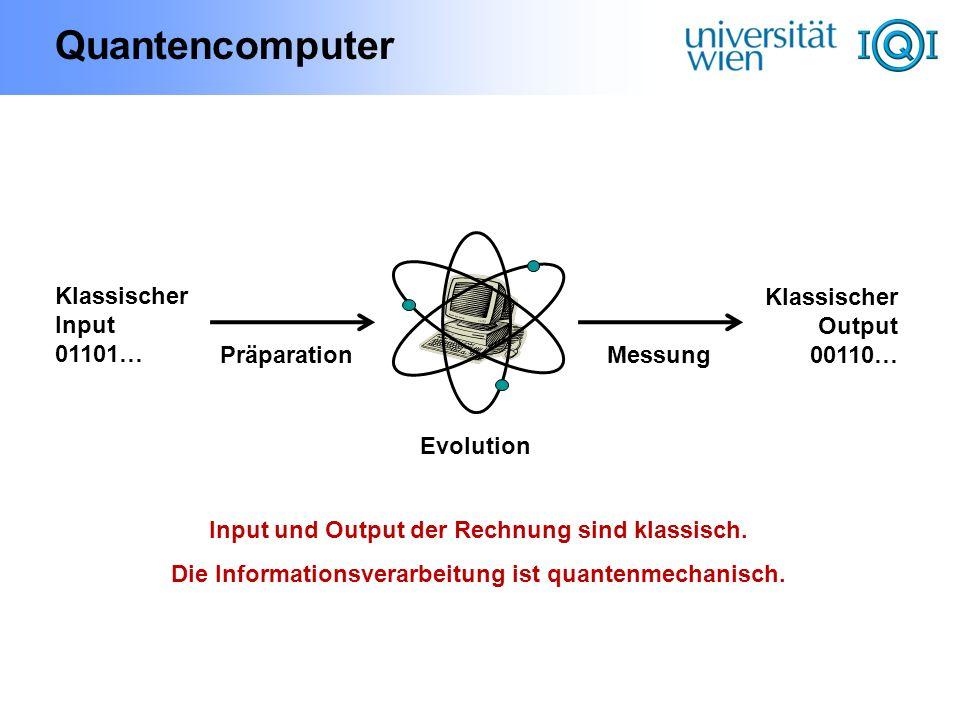 Quantencomputer Klassischer Input 01101… PräparationMessung Klassischer Output 00110… Evolution Input und Output der Rechnung sind klassisch. Die Info