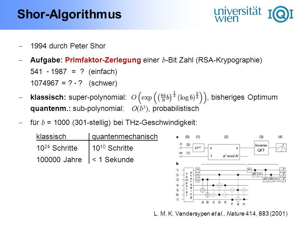 Shor-Algorithmus 1994 durch Peter Shor Aufgabe: Primfaktor-Zerlegung einer b -Bit Zahl (RSA-Krypographie) 541 1987 = ? (einfach) 1074967 = ? ? (schwer
