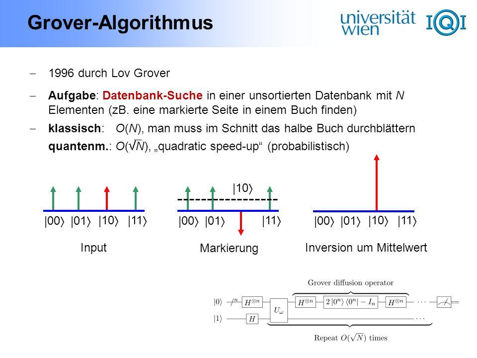 Grover-Algorithmus 1996 durch Lov Grover Aufgabe: Datenbank-Suche in einer unsortierten Datenbank mit N Elementen (zB. eine markierte Seite in einem B