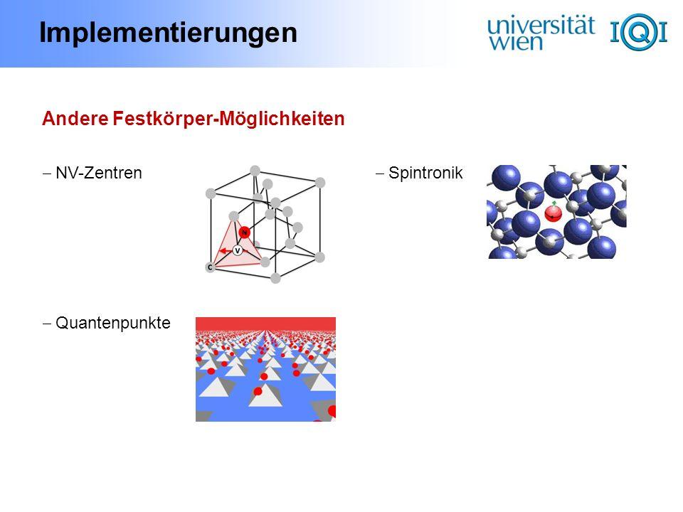 Implementierungen Andere Festkörper-Möglichkeiten NV-Zentren Quantenpunkte Spintronik