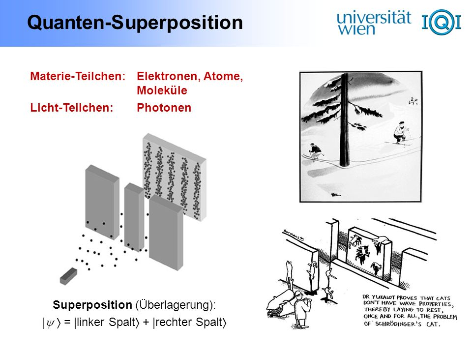 Quanten-Verschränkung Verschränkung (Mehrteilcheneigenschaft): | AB = | AB + | AB Nichtlinearer Kristall Vertikal polarisiert Horizontal polarisiert UV- Laser A B = | AB + | AB Superposition: | = | + | Polarisation: horizontal, vertikal E BobAlice lokal:zufällig / : global:perfekte Korrelation