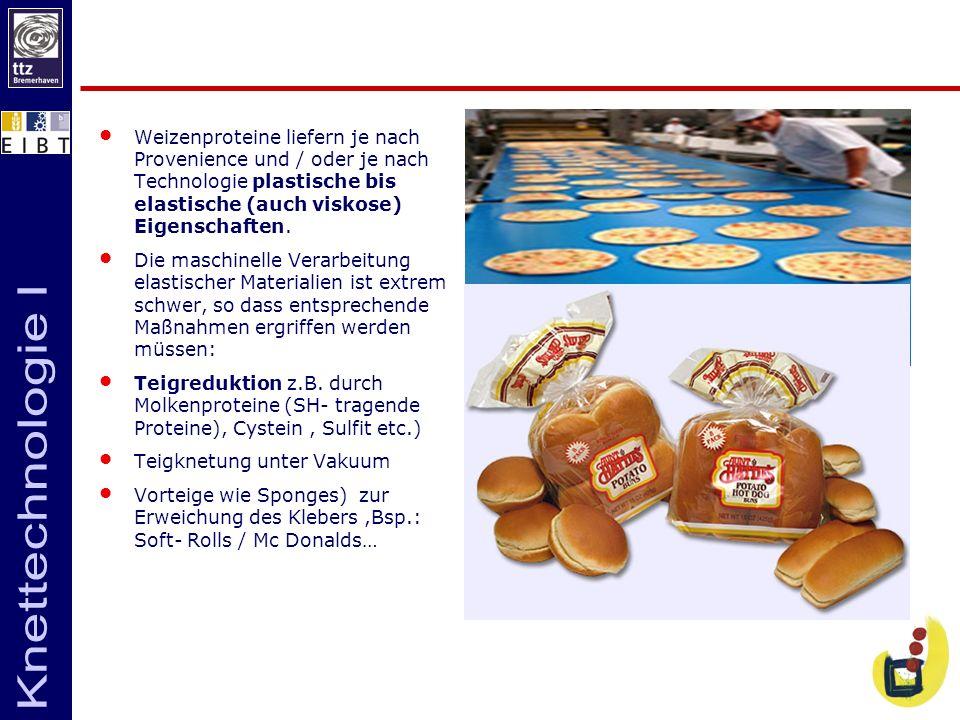Weizenproteine liefern je nach Provenience und / oder je nach Technologie plastische bis elastische (auch viskose) Eigenschaften. Die maschinelle Vera