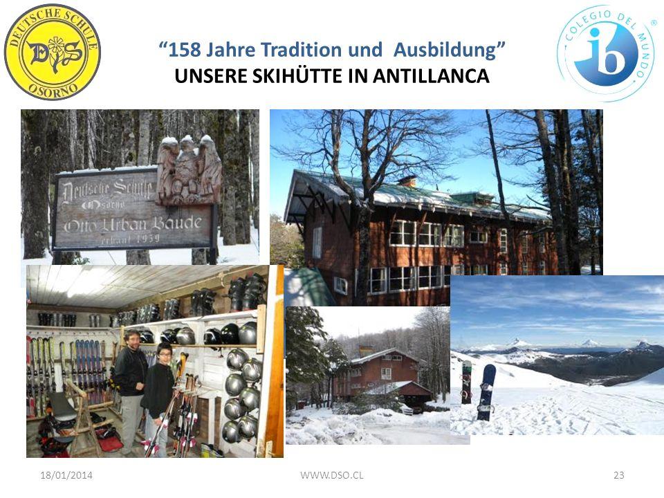 158 Jahre Tradition und Ausbildung UNSERE SKIHÜTTE IN ANTILLANCA 18/01/201423WWW.DSO.CL