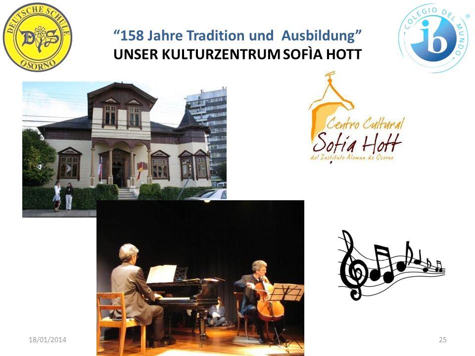 158 Jahre Tradition und Ausbildung UNSER KULTURZENTRUM SOFÌA HOTT 18/01/201425WWW.DSO.CL