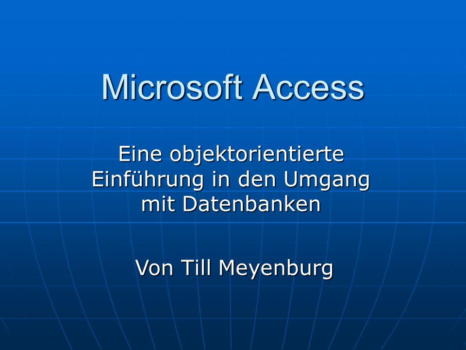Microsoft Access Eine objektorientierte Einführung in den Umgang mit Datenbanken Von Till Meyenburg
