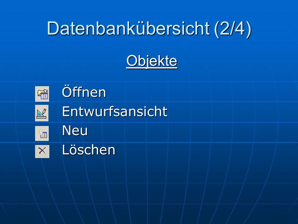Datenbankübersicht (2/4) ÖffnenEntwurfsansichtNeuLöschen Objekte