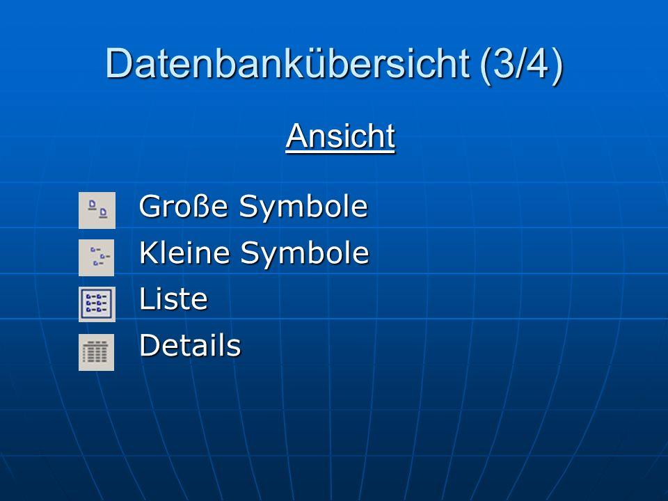 Datenbankübersicht (4/4) TabellenAbfragenFormulareBerichteSeitenMakrosModule Objekte