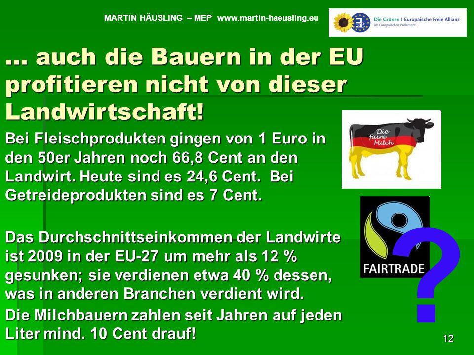 12 MARTIN HÄUSLING – MEP www.martin-haeusling.eu Bei Fleischprodukten gingen von 1 Euro in den 50er Jahren noch 66,8 Cent an den Landwirt. Heute sind