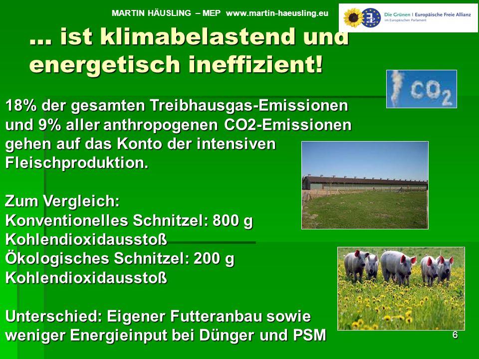 … ist klimabelastend und energetisch ineffizient! 6 MARTIN HÄUSLING – MEP www.martin-haeusling.eu 18% der gesamten Treibhausgas-Emissionen und 9% alle