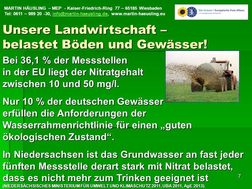 MARTIN HÄUSLING – MEP - Kaiser-Friedrich-Ring 77 – 65185 Wiesbaden Tel: 0611 – 989 20 -30, info@martin-haeusling.de, www.martin-haeusling.euinfo@martin-haeusling.de7 Bei 36,1 % der Messstellen in der EU liegt der Nitratgehalt zwischen 10 und 50 mg/l.