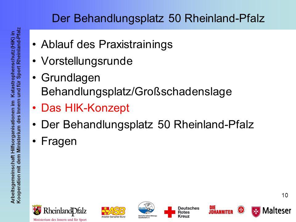 Arbeitsgemeinschaft Hilfsorganisationen im Katastrophenschutz (HiK) in Kooperation mit dem Ministerium des Innern und für Sport Rheinland-Pfalz 10 Der