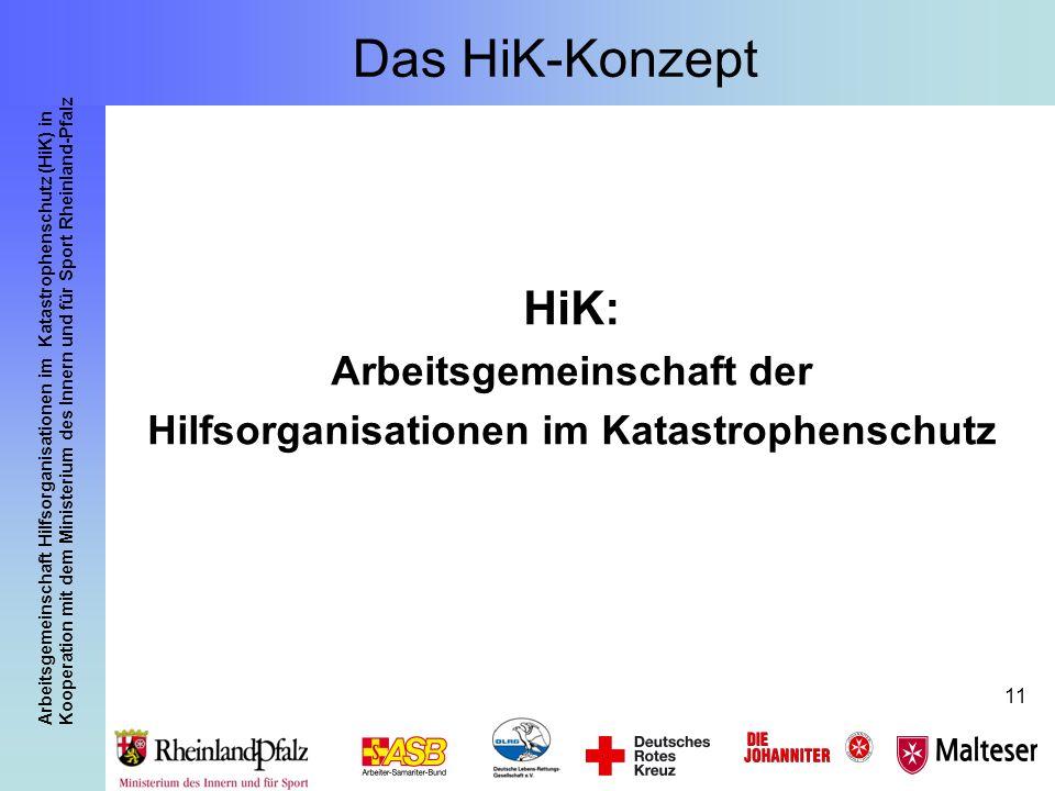 Arbeitsgemeinschaft Hilfsorganisationen im Katastrophenschutz (HiK) in Kooperation mit dem Ministerium des Innern und für Sport Rheinland-Pfalz 11 Das