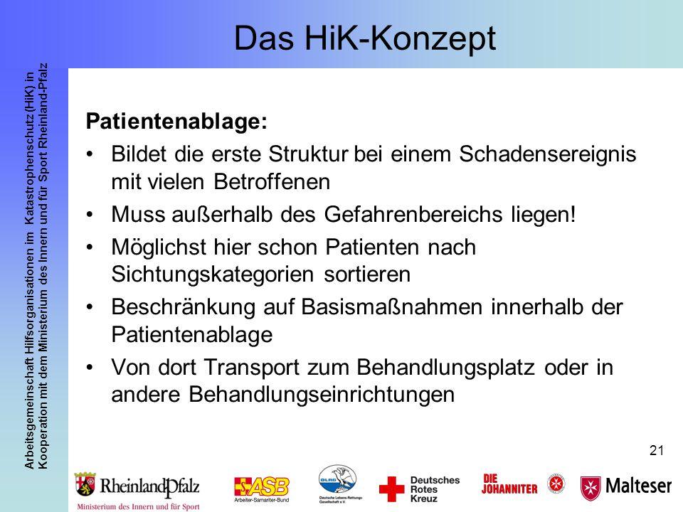 Arbeitsgemeinschaft Hilfsorganisationen im Katastrophenschutz (HiK) in Kooperation mit dem Ministerium des Innern und für Sport Rheinland-Pfalz 21 Das
