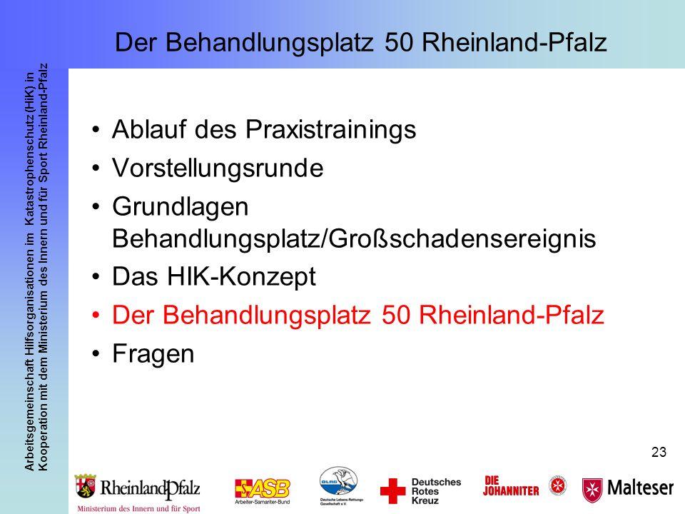 Arbeitsgemeinschaft Hilfsorganisationen im Katastrophenschutz (HiK) in Kooperation mit dem Ministerium des Innern und für Sport Rheinland-Pfalz 23 Der
