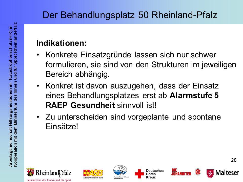 Arbeitsgemeinschaft Hilfsorganisationen im Katastrophenschutz (HiK) in Kooperation mit dem Ministerium des Innern und für Sport Rheinland-Pfalz 28 Der