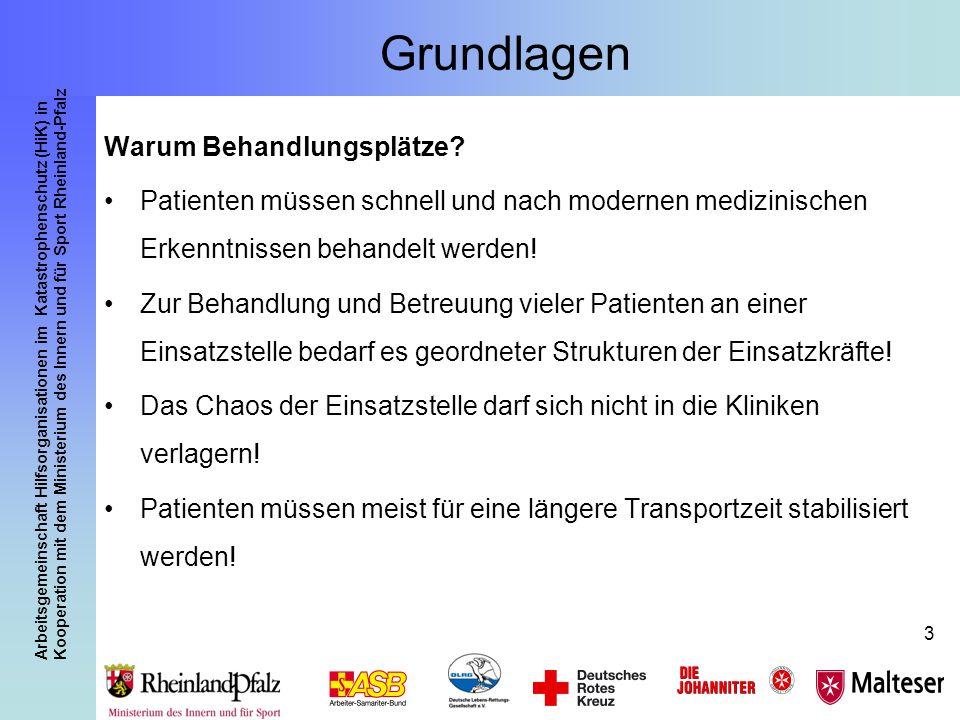 Arbeitsgemeinschaft Hilfsorganisationen im Katastrophenschutz (HiK) in Kooperation mit dem Ministerium des Innern und für Sport Rheinland-Pfalz 4 Grundlagen Aufgaben des Behandlungsplatzes: Sichtung Behandlung/ Betreuung Transport- organisation