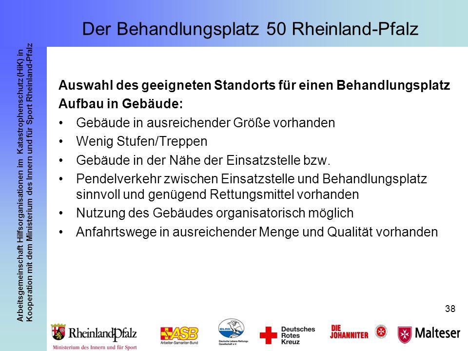 Arbeitsgemeinschaft Hilfsorganisationen im Katastrophenschutz (HiK) in Kooperation mit dem Ministerium des Innern und für Sport Rheinland-Pfalz 38 Aus