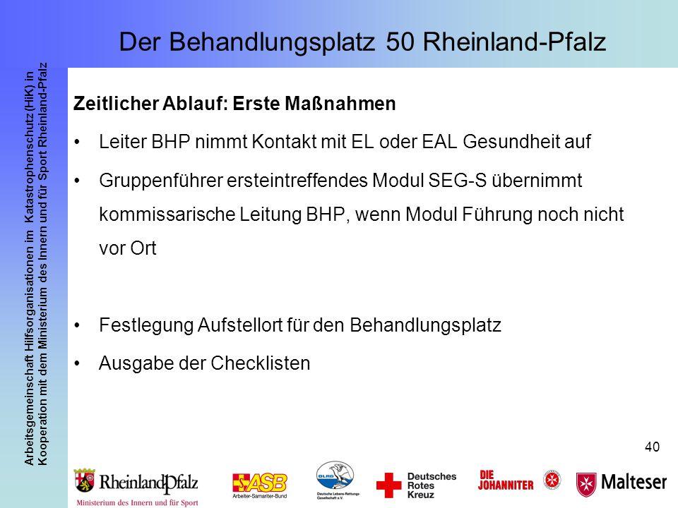 Arbeitsgemeinschaft Hilfsorganisationen im Katastrophenschutz (HiK) in Kooperation mit dem Ministerium des Innern und für Sport Rheinland-Pfalz 40 Zei