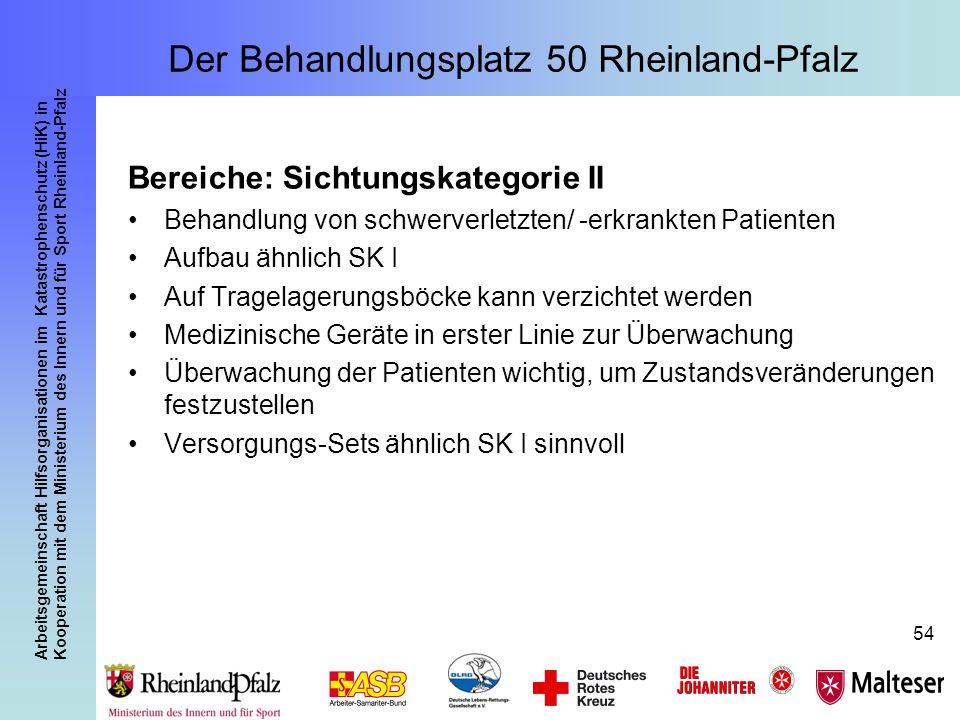 Arbeitsgemeinschaft Hilfsorganisationen im Katastrophenschutz (HiK) in Kooperation mit dem Ministerium des Innern und für Sport Rheinland-Pfalz 54 Ber