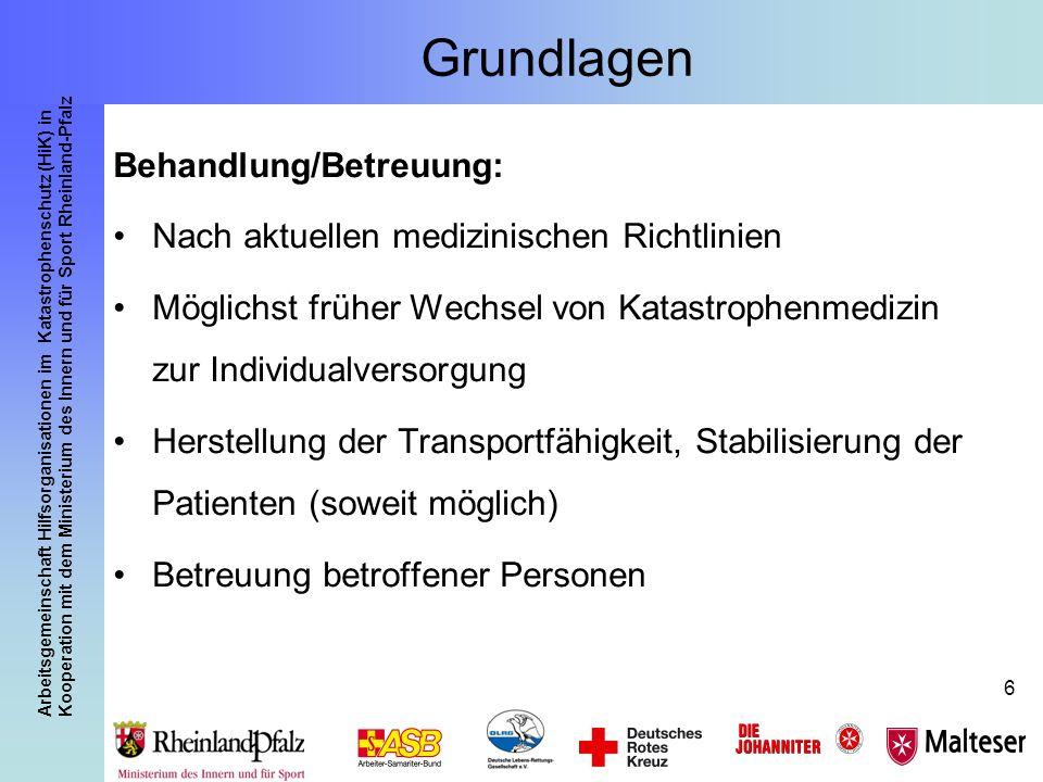 Arbeitsgemeinschaft Hilfsorganisationen im Katastrophenschutz (HiK) in Kooperation mit dem Ministerium des Innern und für Sport Rheinland-Pfalz 47 Bereiche: Sichtungskategorie I Der Behandlungsplatz 50 Rheinland-Pfalz