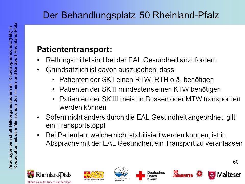 Arbeitsgemeinschaft Hilfsorganisationen im Katastrophenschutz (HiK) in Kooperation mit dem Ministerium des Innern und für Sport Rheinland-Pfalz 60 Pat