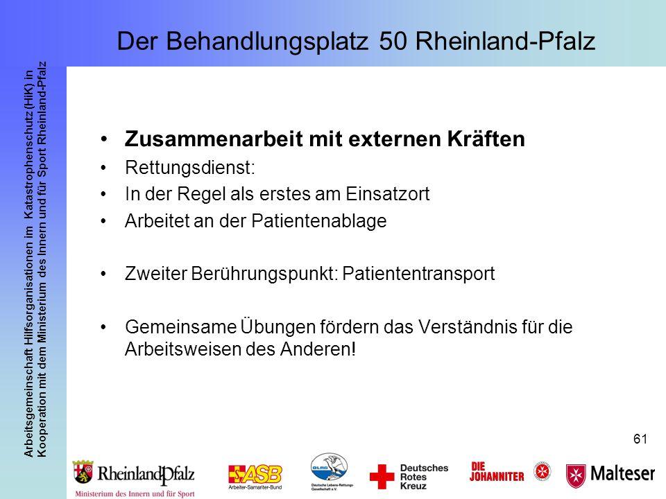 Arbeitsgemeinschaft Hilfsorganisationen im Katastrophenschutz (HiK) in Kooperation mit dem Ministerium des Innern und für Sport Rheinland-Pfalz 61 Zus