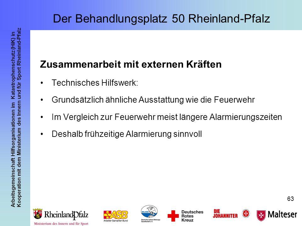 Arbeitsgemeinschaft Hilfsorganisationen im Katastrophenschutz (HiK) in Kooperation mit dem Ministerium des Innern und für Sport Rheinland-Pfalz 63 Zus