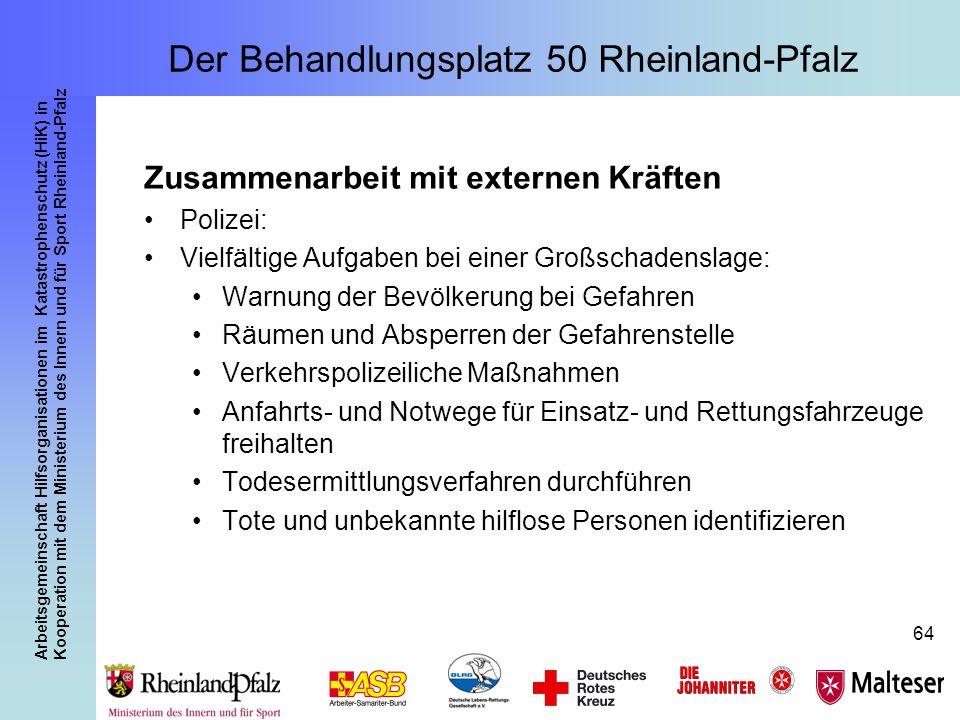 Arbeitsgemeinschaft Hilfsorganisationen im Katastrophenschutz (HiK) in Kooperation mit dem Ministerium des Innern und für Sport Rheinland-Pfalz 64 Zus