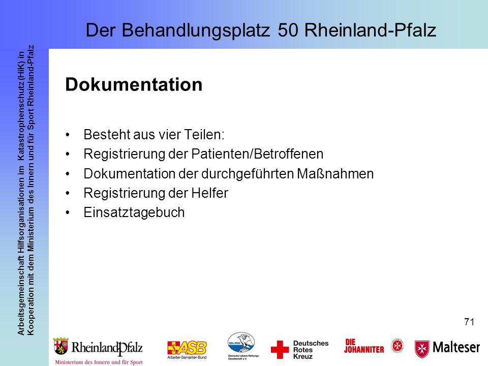 Arbeitsgemeinschaft Hilfsorganisationen im Katastrophenschutz (HiK) in Kooperation mit dem Ministerium des Innern und für Sport Rheinland-Pfalz 71 Dok