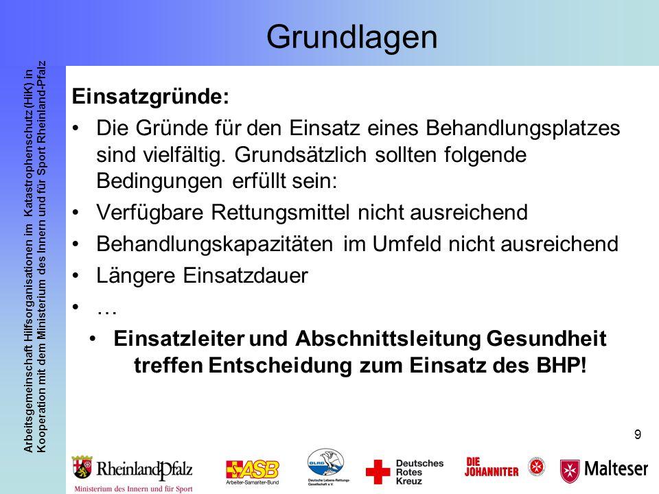 Arbeitsgemeinschaft Hilfsorganisationen im Katastrophenschutz (HiK) in Kooperation mit dem Ministerium des Innern und für Sport Rheinland-Pfalz 50 Der Behandlungsplatz 50 Rheinland-Pfalz