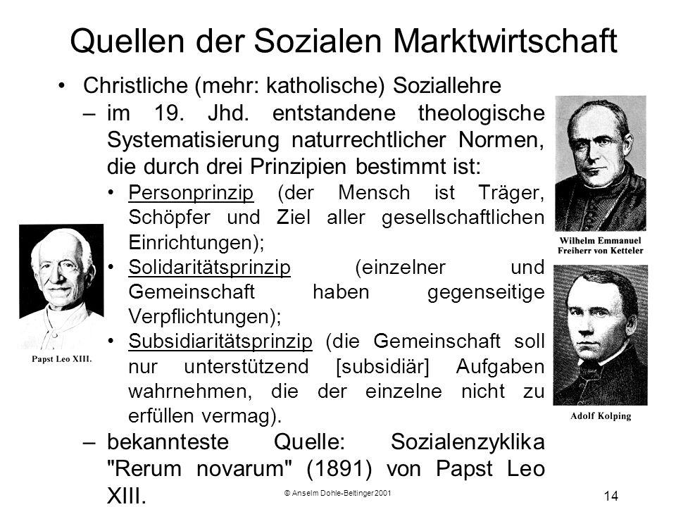 © Anselm Dohle-Beltinger 2001 14 Quellen der Sozialen Marktwirtschaft Christliche (mehr: katholische) Soziallehre –im 19. Jhd. entstandene theologisch