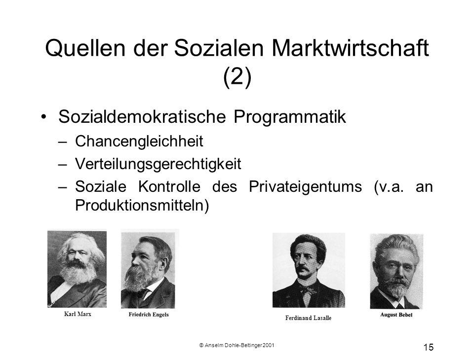 © Anselm Dohle-Beltinger 2001 15 Quellen der Sozialen Marktwirtschaft (2) Sozialdemokratische Programmatik –Chancengleichheit –Verteilungsgerechtigkei
