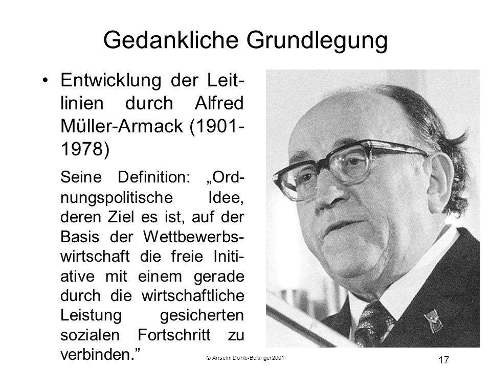 © Anselm Dohle-Beltinger 2001 17 Gedankliche Grundlegung Entwicklung der Leit- linien durch Alfred Müller-Armack (1901- 1978) Seine Definition: Ord- n