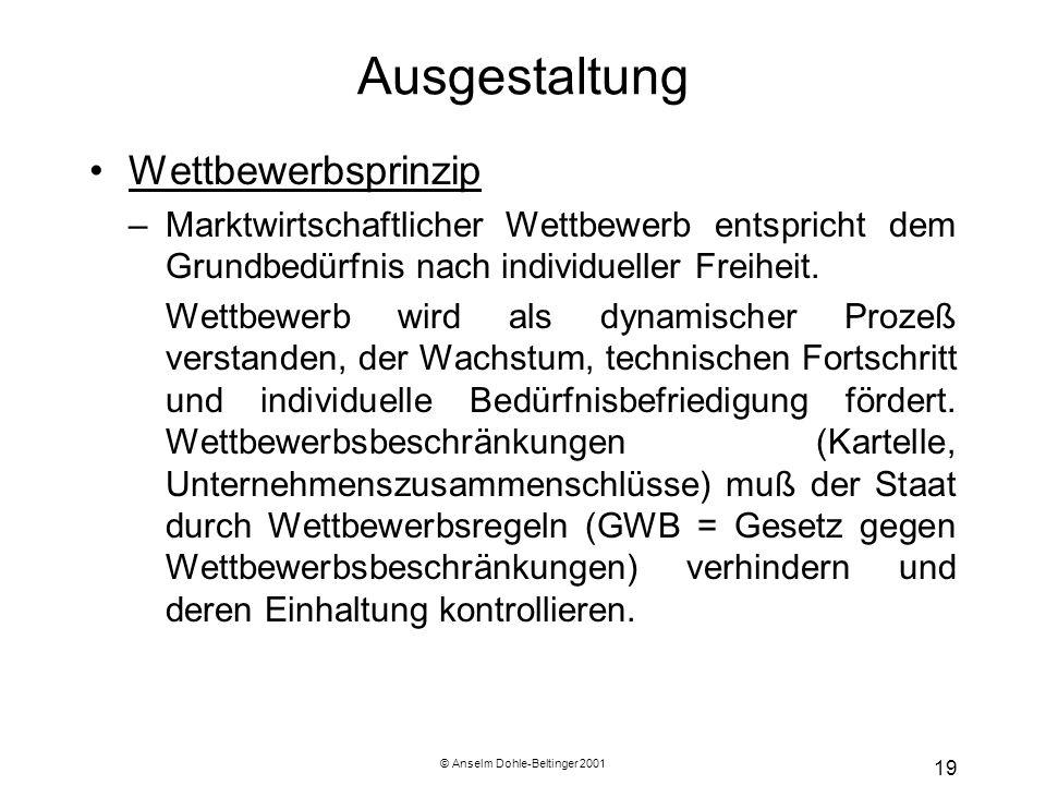 © Anselm Dohle-Beltinger 2001 19 Ausgestaltung Wettbewerbsprinzip –Marktwirtschaftlicher Wettbewerb entspricht dem Grundbedürfnis nach individueller F