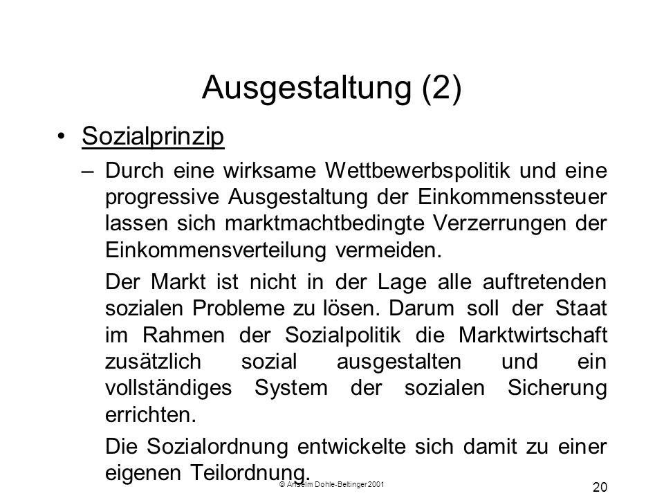 © Anselm Dohle-Beltinger 2001 20 Ausgestaltung (2) Sozialprinzip –Durch eine wirksame Wettbewerbspolitik und eine progressive Ausgestaltung der Einkom