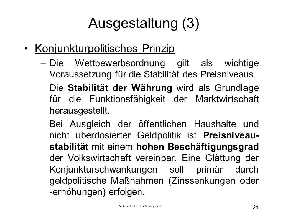 © Anselm Dohle-Beltinger 2001 21 Ausgestaltung (3) Konjunkturpolitisches Prinzip –Die Wettbewerbsordnung gilt als wichtige Voraussetzung für die Stabi