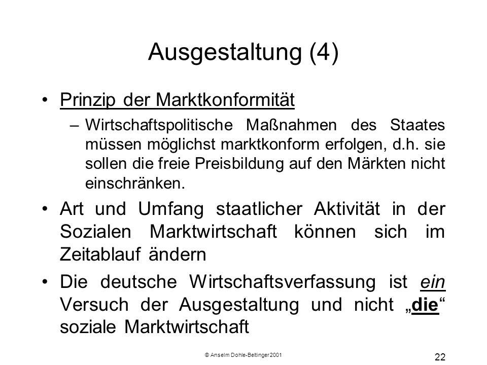 © Anselm Dohle-Beltinger 2001 22 Ausgestaltung (4) Prinzip der Marktkonformität –Wirtschaftspolitische Maßnahmen des Staates müssen möglichst marktkon