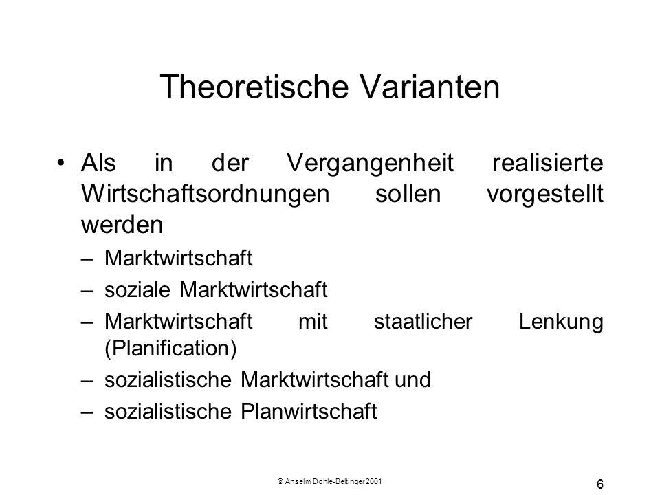 © Anselm Dohle-Beltinger 2001 6 Theoretische Varianten Als in der Vergangenheit realisierte Wirtschaftsordnungen sollen vorgestellt werden –Marktwirts