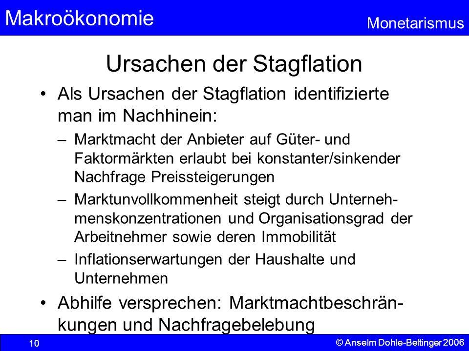 Makroökonomie Monetarismus © Anselm Dohle-Beltinger 2006 10 Ursachen der Stagflation Als Ursachen der Stagflation identifizierte man im Nachhinein: –M