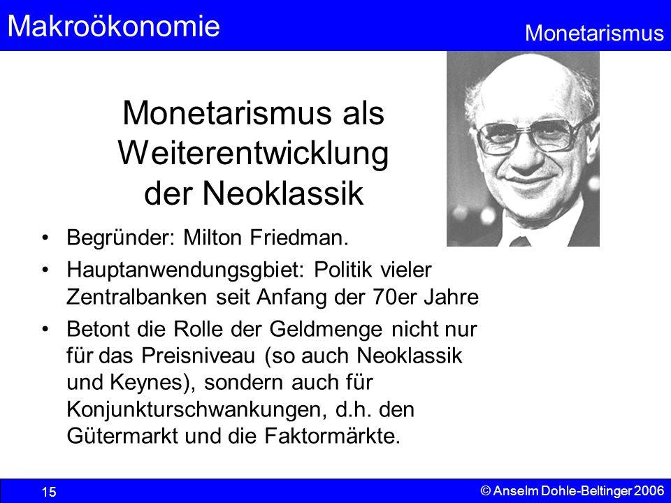 Makroökonomie Monetarismus © Anselm Dohle-Beltinger 2006 15 Monetarismus als Weiterentwicklung der Neoklassik Begründer: Milton Friedman. Hauptanwendu