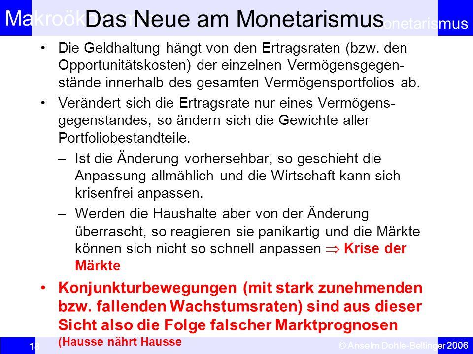 Makroökonomie Monetarismus © Anselm Dohle-Beltinger 2006 18 Das Neue am Monetarismus Die Geldhaltung hängt von den Ertragsraten (bzw. den Opportunität