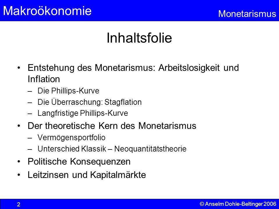 Makroökonomie Monetarismus © Anselm Dohle-Beltinger 2006 2 Inhaltsfolie Entstehung des Monetarismus: Arbeitslosigkeit und Inflation –Die Phillips-Kurv
