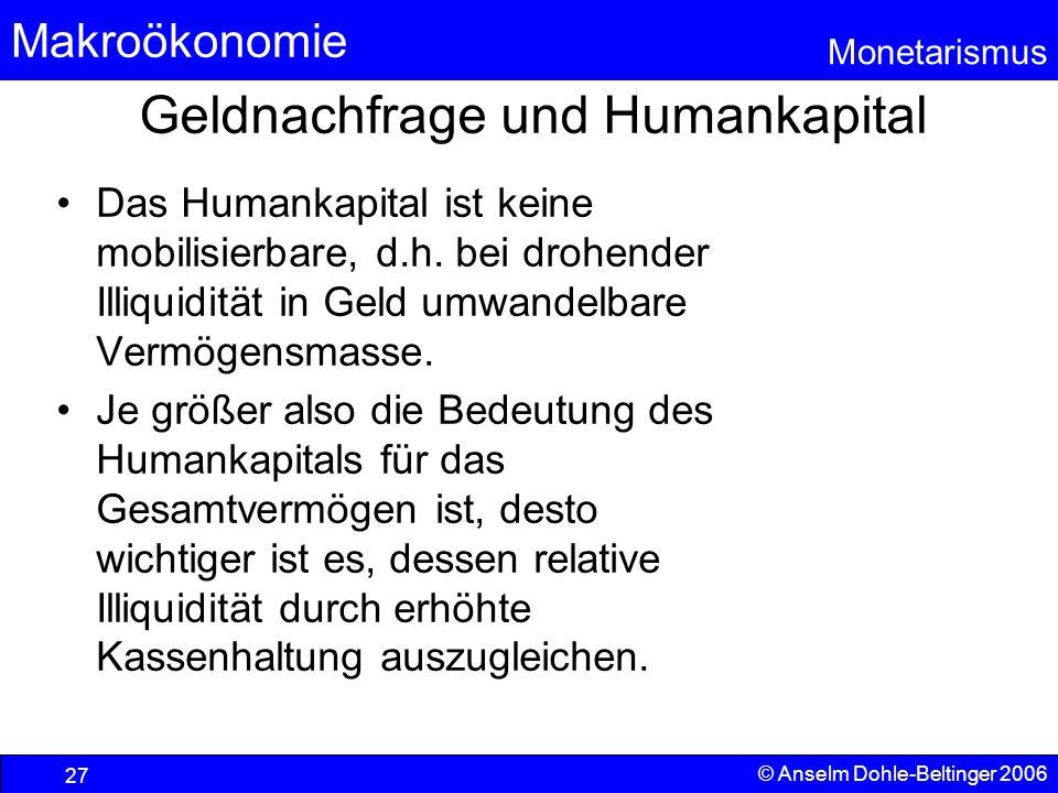 Makroökonomie Monetarismus © Anselm Dohle-Beltinger 2006 27 Geldnachfrage und Humankapital Das Humankapital ist keine mobilisierbare, d.h. bei drohend