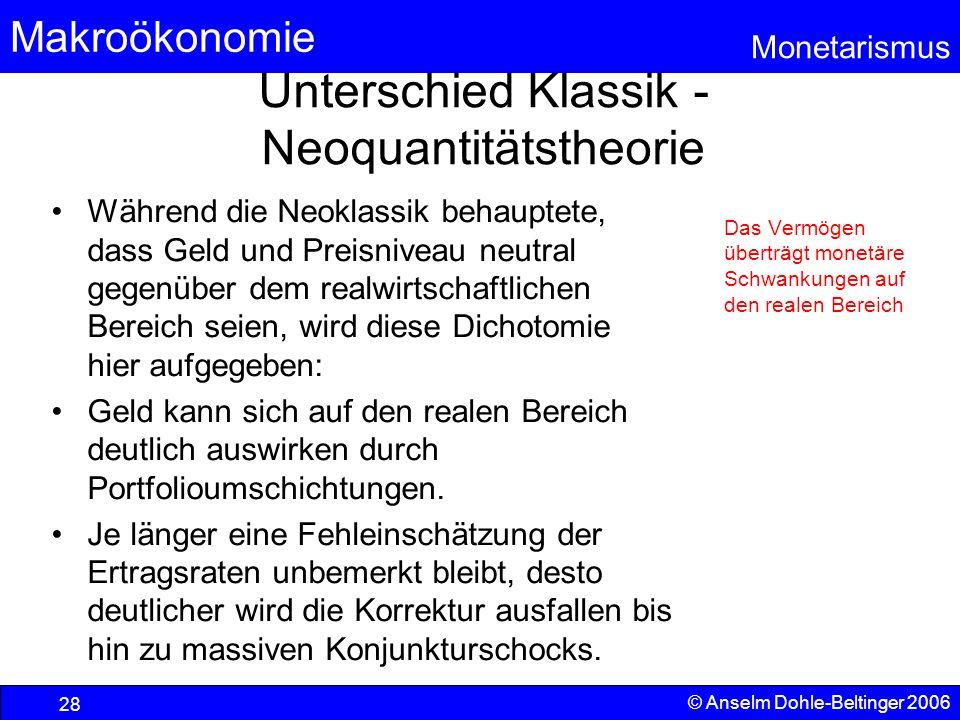 Makroökonomie Monetarismus © Anselm Dohle-Beltinger 2006 28 Unterschied Klassik - Neoquantitätstheorie Während die Neoklassik behauptete, dass Geld un